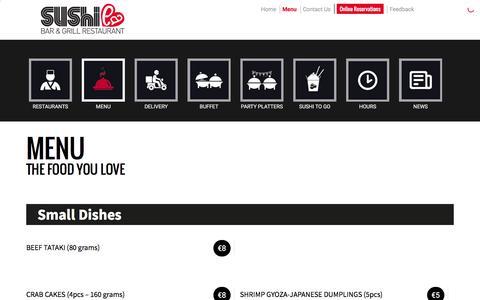 Screenshot of Menu Page sushilabar.com - Menu The Food You Love | Sushi La - captured Feb. 24, 2016
