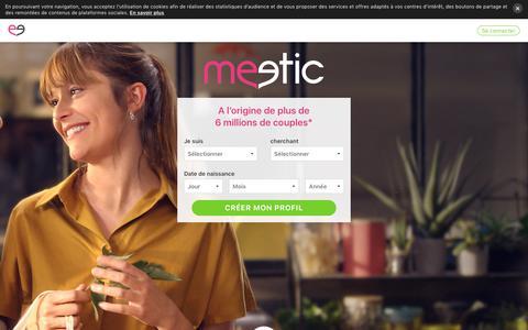 Screenshot of Home Page meetic.fr - Site de Rencontres Sérieuses pour Célibataires - Meetic France - captured July 25, 2018