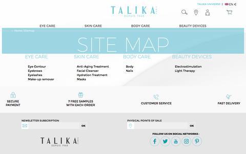 Screenshot of Site Map Page talika.com - Talika   Site Map - captured Sept. 20, 2018