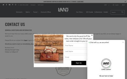 Screenshot of Contact Page landleather.com - Contact Us - LAND Leather - captured Dec. 13, 2018