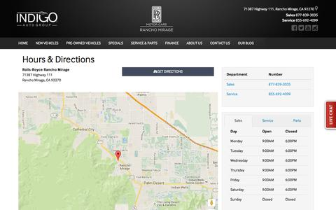 Screenshot of Hours Page rolls-roycemotorcarsranchomirage.com - Rolls-Royce Rancho Mirage Hours & Directions - Rancho Mirage Rolls Royce dealer in Rancho Mirage CA - New and Used Rolls Royce dealership Cathedral City Palm Desert Thousand Palms CA - captured March 17, 2016