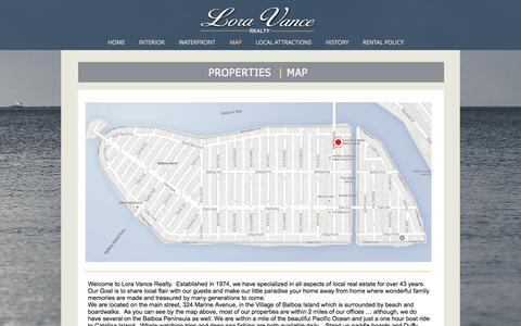Screenshot of Maps & Directions Page vancerealty.net - Beautiful Balboa Island Vacation Rentals | MAP - captured Sept. 9, 2017