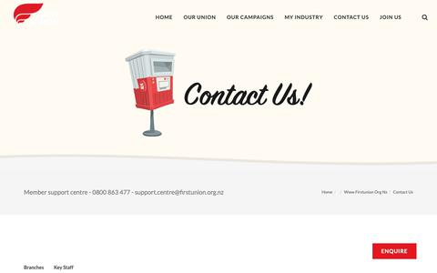 Screenshot of Contact Page firstunion.org.nz - Contact Us - captured Oct. 18, 2018