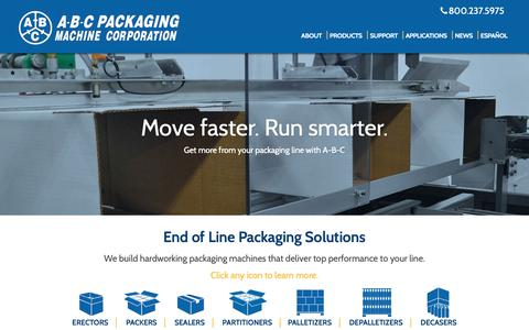 Screenshot of Home Page abcpackaging.com - Home - A-B-C Packaging Machine Corporation - captured Oct. 1, 2018