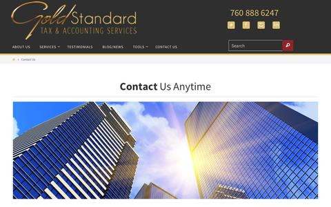Screenshot of Pricing Page goldstandardtax.com - Contact Us   - Gold Standard Tax - captured Oct. 22, 2014