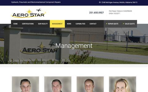 Screenshot of Team Page aerostar.aero - Management - Aerostar - captured Oct. 7, 2017