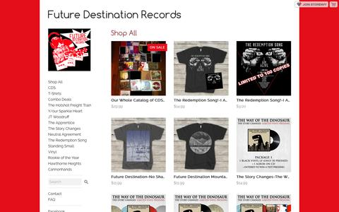 Screenshot of Products Page storenvy.com - All Products · Future Destination Records · Online Store Powered by Storenvy - captured June 1, 2016