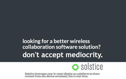 Screenshot of Landing Page mersive.com - Solstice wireless collaboration software. - captured Sept. 22, 2017