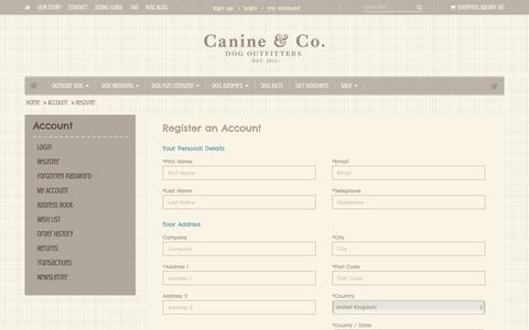 Screenshot of Signup Page canineandco.co.uk - Register an Account - captured July 14, 2017