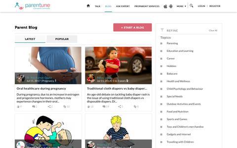 Screenshot of Blog parentune.com - Parentune - Parent blogs - captured July 11, 2017