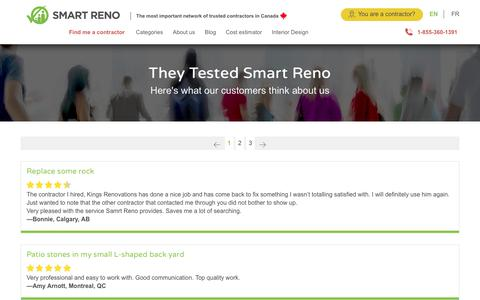 Screenshot of Testimonials Page smartreno.com - Customer reviews about renovation projects done with SmartReno - captured July 13, 2018