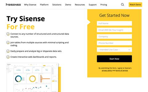 Screenshot of Trial Page sisense.com - Start Your Free Trial | Sisense - captured June 22, 2019