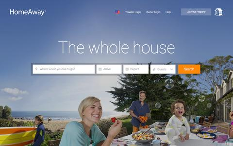 Screenshot of Home Page homeaway.com - HomeAway: Vacation Rentals, Beach Houses, Cabins & More - captured Oct. 20, 2015
