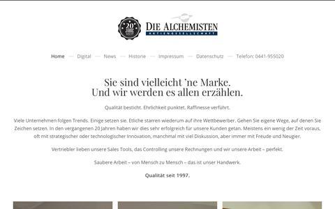 Screenshot of Home Page alchemisten.de - DIE ALCHEMISTEN AG | Werbeagentur Oldenburg (Oldb.) - captured Oct. 3, 2018