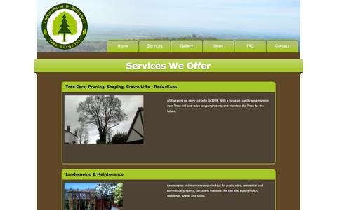 Screenshot of Services Page simonhilltreesurgeon.com - Contact us - get in touch - captured March 7, 2016
