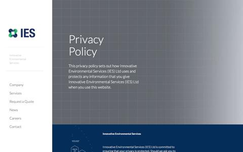 Screenshot of Privacy Page ies-ltd.ch - Privacy Policy – IES - captured July 26, 2018