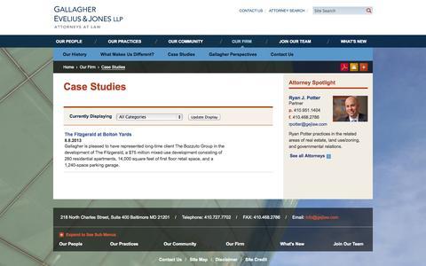 Screenshot of Case Studies Page gejlaw.com - Case Studies | Gallagher Evelius & Jones LLP Attorneys At Law - captured Oct. 1, 2014