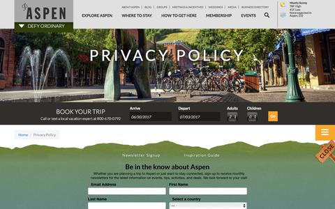 Screenshot of Privacy Page aspenchamber.org - Privacy Policy | Aspen CO Chamber - captured June 30, 2017