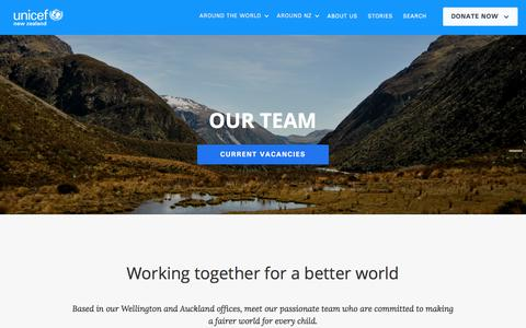 Screenshot of Team Page unicef.org.nz - Team - captured Oct. 3, 2017