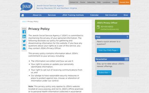 Screenshot of Privacy Page jssa.org - Privacy Policy | Jewish Social Service Agency (JSSA) - captured Nov. 3, 2014