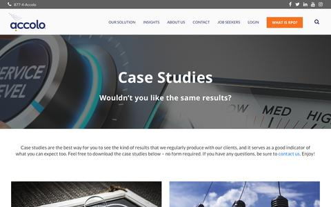 Screenshot of Case Studies Page accolo.com - Case Studies   Accolo Elevated RPO Services - captured Oct. 21, 2018