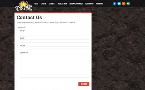 Screenshot of Contact Page mndiscoverycenter.com - Information Request Form  - Minnesota Discovery Center: The Museum of the Iron Range - captured Oct. 7, 2014