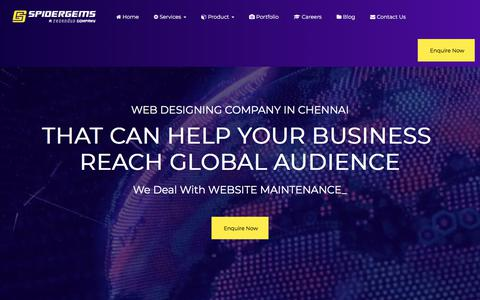 Screenshot of Home Page spidergems.com - Web designing company in Chennai | Web design company in Chennai - captured Jan. 12, 2018