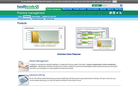 Screenshot of Products Page healthcode.co.uk - Products | Practice management Healthcode secure online health care systems - captured Jan. 27, 2016