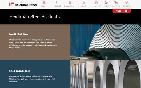Screenshot of Products Page heidtman.com - Steel Products and Processing Services | Heidtman Steel - captured Dec. 14, 2018