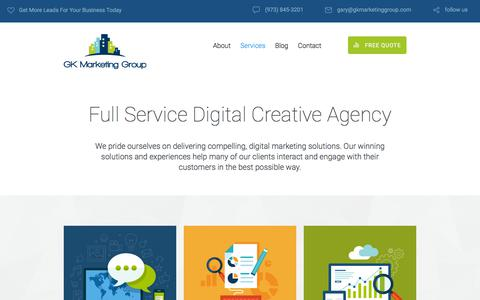 Screenshot of Services Page gkmarketinggroup.com - Inner page: Services | GK Marketing Group - captured July 15, 2018