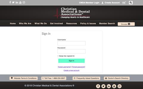 Screenshot of Login Page cmda.org - Sign In - captured Sept. 28, 2018