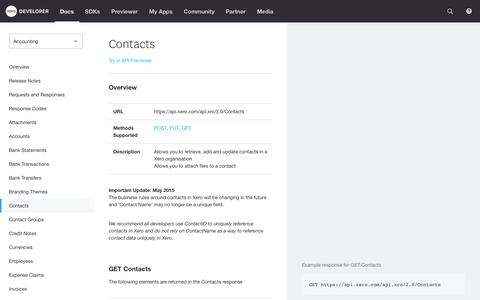 Screenshot of Developers Page xero.com - Contacts - Accounting | Xero Developer - captured Oct. 4, 2017