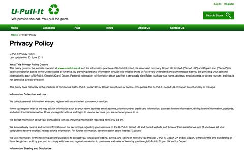 Screenshot of Privacy Page u-pull-it.co.uk - Privacy Policy | U-Pull-It Breakers Yards - captured Oct. 3, 2014