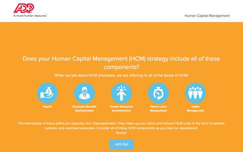 Screenshot of Landing Page adp.com - ADP Human Capital Management Assessment - Lets Get Started - captured July 3, 2017