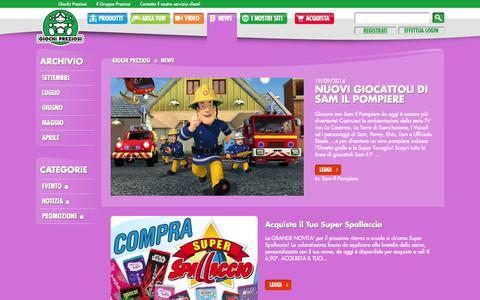 Screenshot of Press Page giochipreziosi.it - News | Giochi Preziosi - captured Sept. 30, 2014