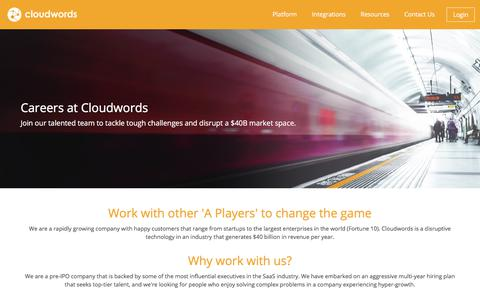 Screenshot of Jobs Page cloudwords.com - Careers - captured July 1, 2017