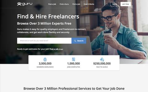 Screenshot of Home Page guru.com - Guru - Hire Quality Freelancers and Find Freelance Jobs - captured Feb. 21, 2018