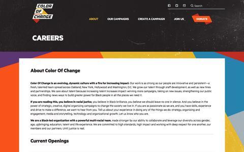 Screenshot of Jobs Page colorofchange.org - Careers – ColorOfChange.com - captured July 20, 2018