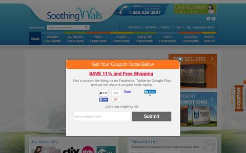 Screenshot of Home Page soothingwalls.com - Water Fountains: Shop Wall, Outdoor & Indoor Water Features - captured Aug. 31, 2015