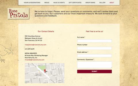 Screenshot of Contact Page rosepistolasf.com - –  CONTACT - captured Oct. 6, 2014