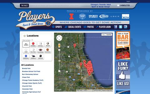 Screenshot of Locations Page playerssports.net - Locations: Players Sport & Social Group - Chicago, IL - captured Sept. 23, 2014