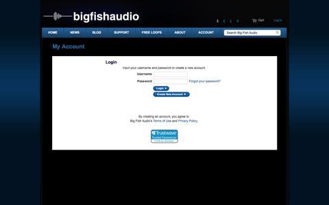Screenshot of Login Page bigfishaudio.com - Big Fish Audio | Account - captured Nov. 6, 2016