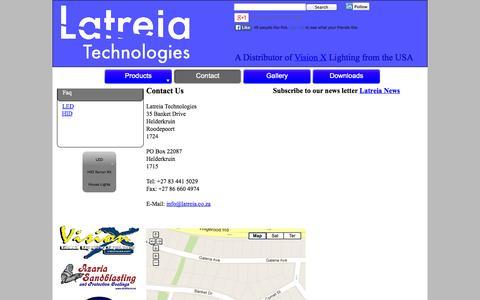 Screenshot of Contact Page latreia.co.za - Latreia / Vision X - Contact - captured Oct. 2, 2014