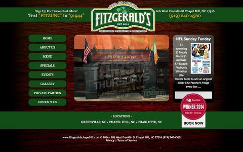Screenshot of Home Page fitzgeraldschapelhill.com - Fitzgerald's Irish Pub 206 West Franklin St Chapel Hill NC (919) 240-4560 - captured Oct. 6, 2014
