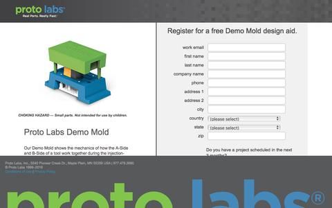 Screenshot of Landing Page protolabs.com - Register for a free Demo Mold design aid. - captured Aug. 9, 2016