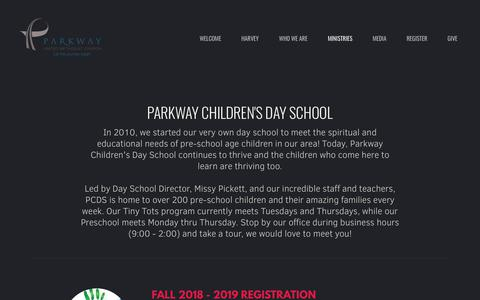 Screenshot of parkwayumc.org - Parkway United Methodist Church | Our Day School - captured Feb. 18, 2018