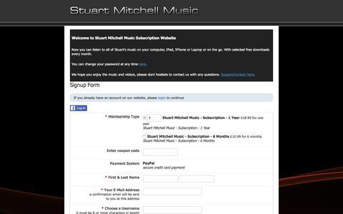 Screenshot of Signup Page stuart-mitchell.com - Stuart Mitchell Music Members Subscription Site - captured Feb. 24, 2018
