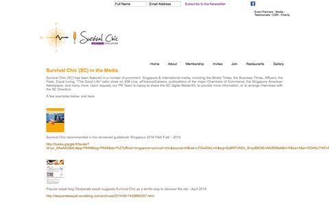 Screenshot of Press Page survivalchic.com - Singapore Restaurant Reviews, Singapore Events & Survival Chic News - Survival Chic Media - captured Oct. 8, 2014