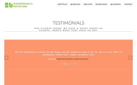 Screenshot of Testimonials Page 2bdesign.us - Testimonials | 2b design & development | Web Apps & Web Design | Flagstaff, AZ - captured Jan. 4, 2017