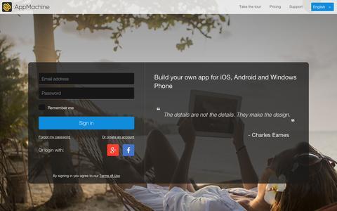 Screenshot of Login Page appmachine.com - AppMachine - captured Jan. 23, 2016